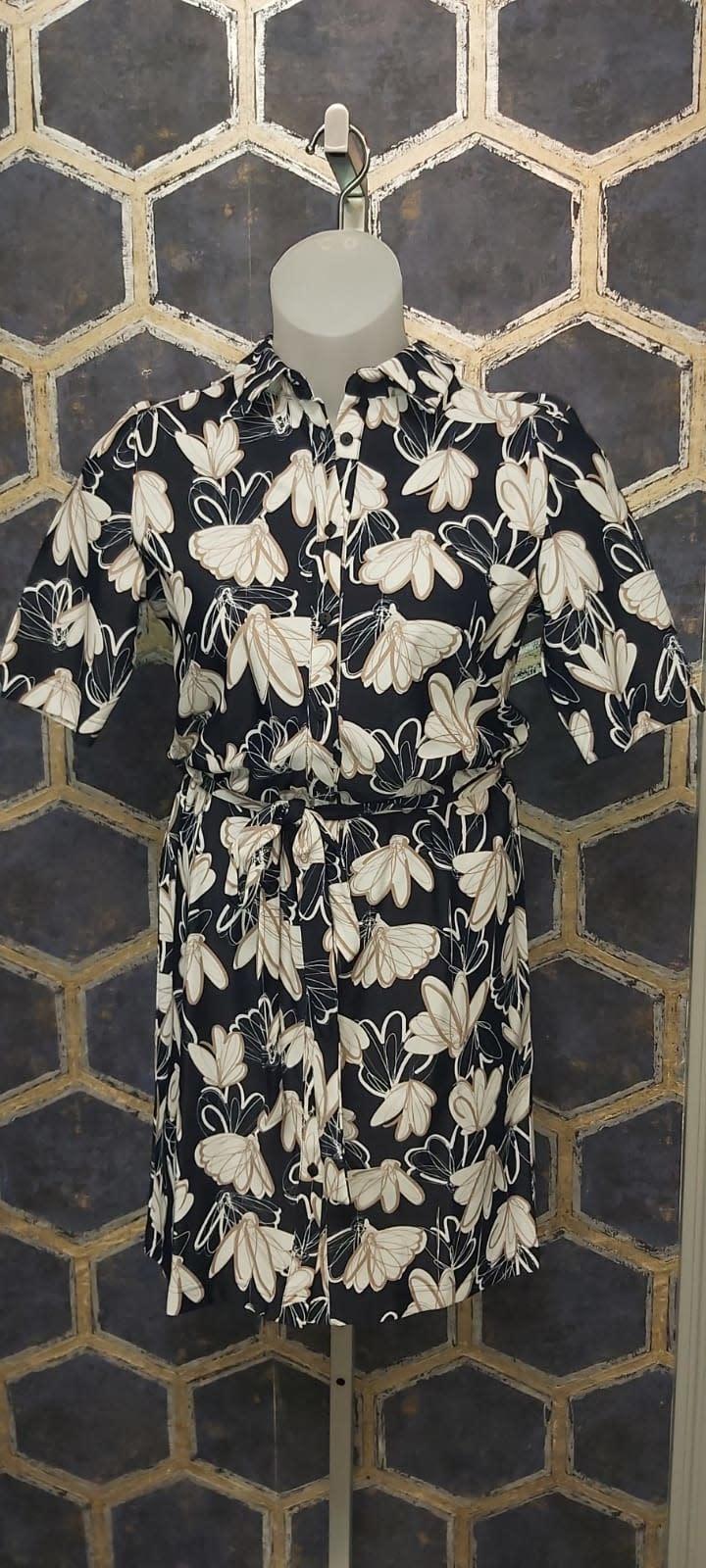 Navy Flower Dress with Tie