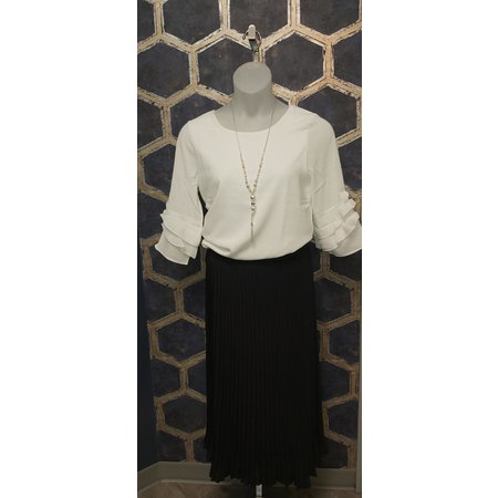 Blouse with Ruffle Sleeves - White