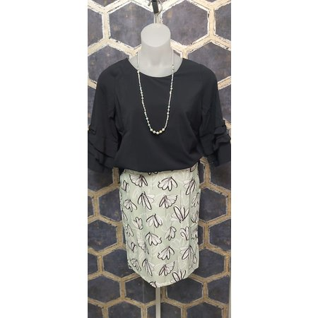 Blouse with Ruffle Sleeves - Navy