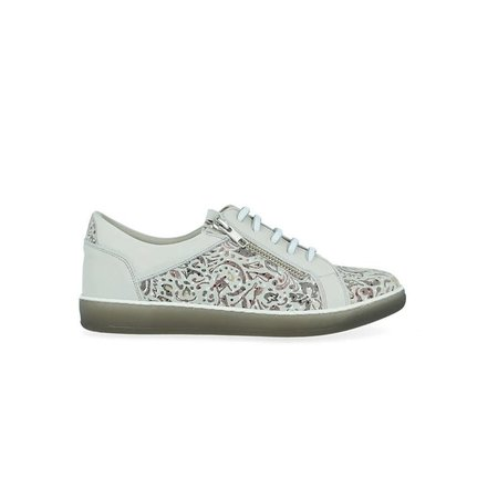 Tooled Leather Sneaker with Removable Footbed