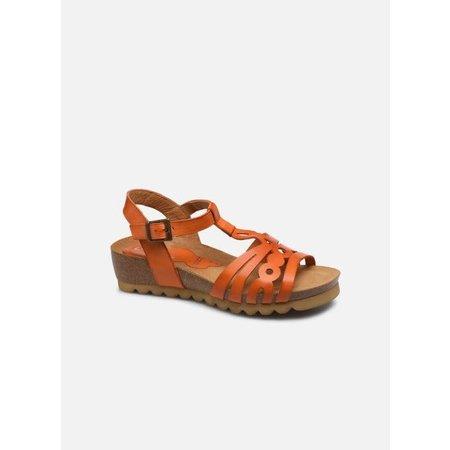 Cognac Wedge Sandals with Cork Sole