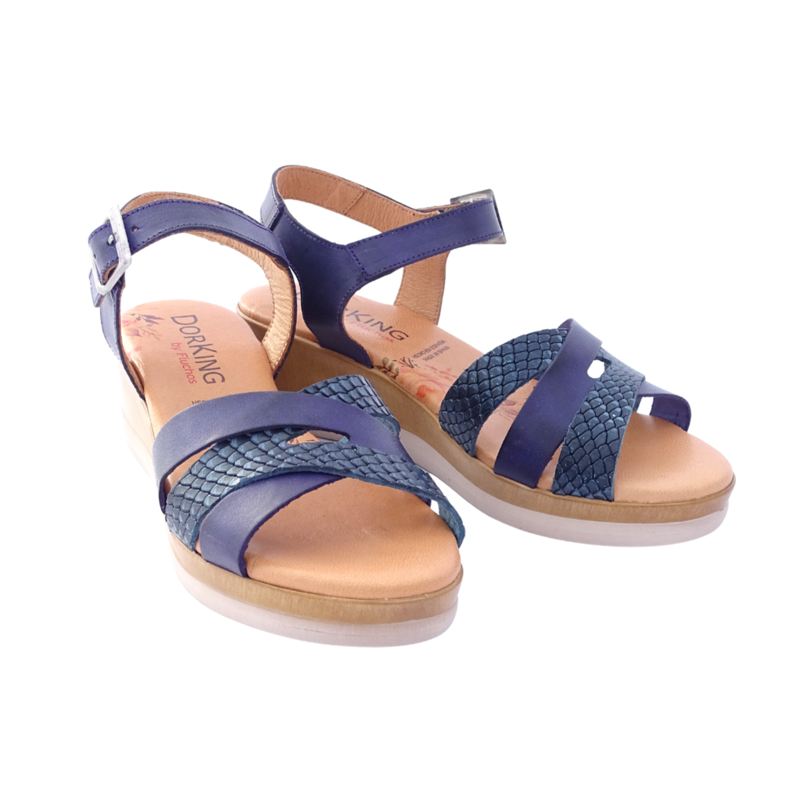 Navy Wedge Sandals with Embossed Detail