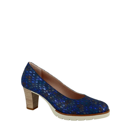 Navy Pumps with Stacked Wood Heel