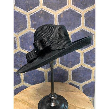 Black Western Style Hat with Ridged Brim