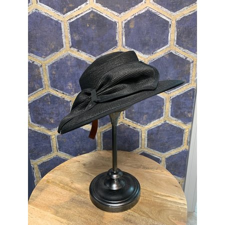 Black Woven Hat with Large Bow