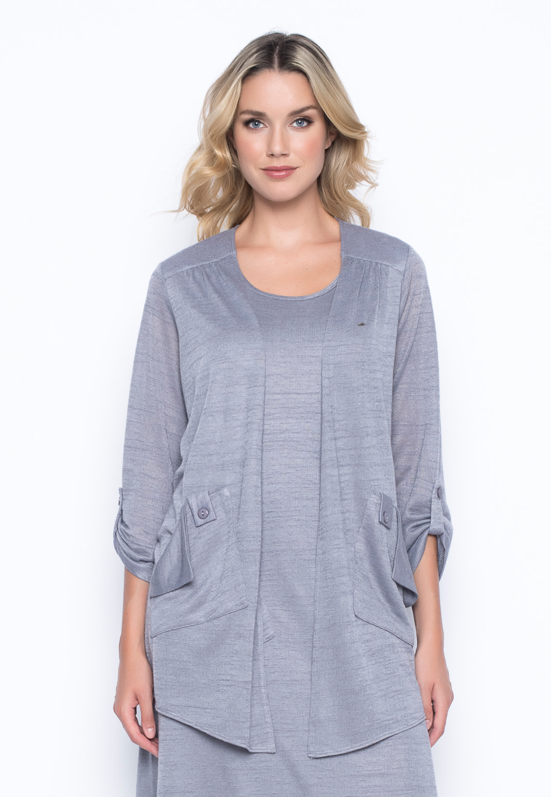 Open Front Jacket with Patch Pockets
