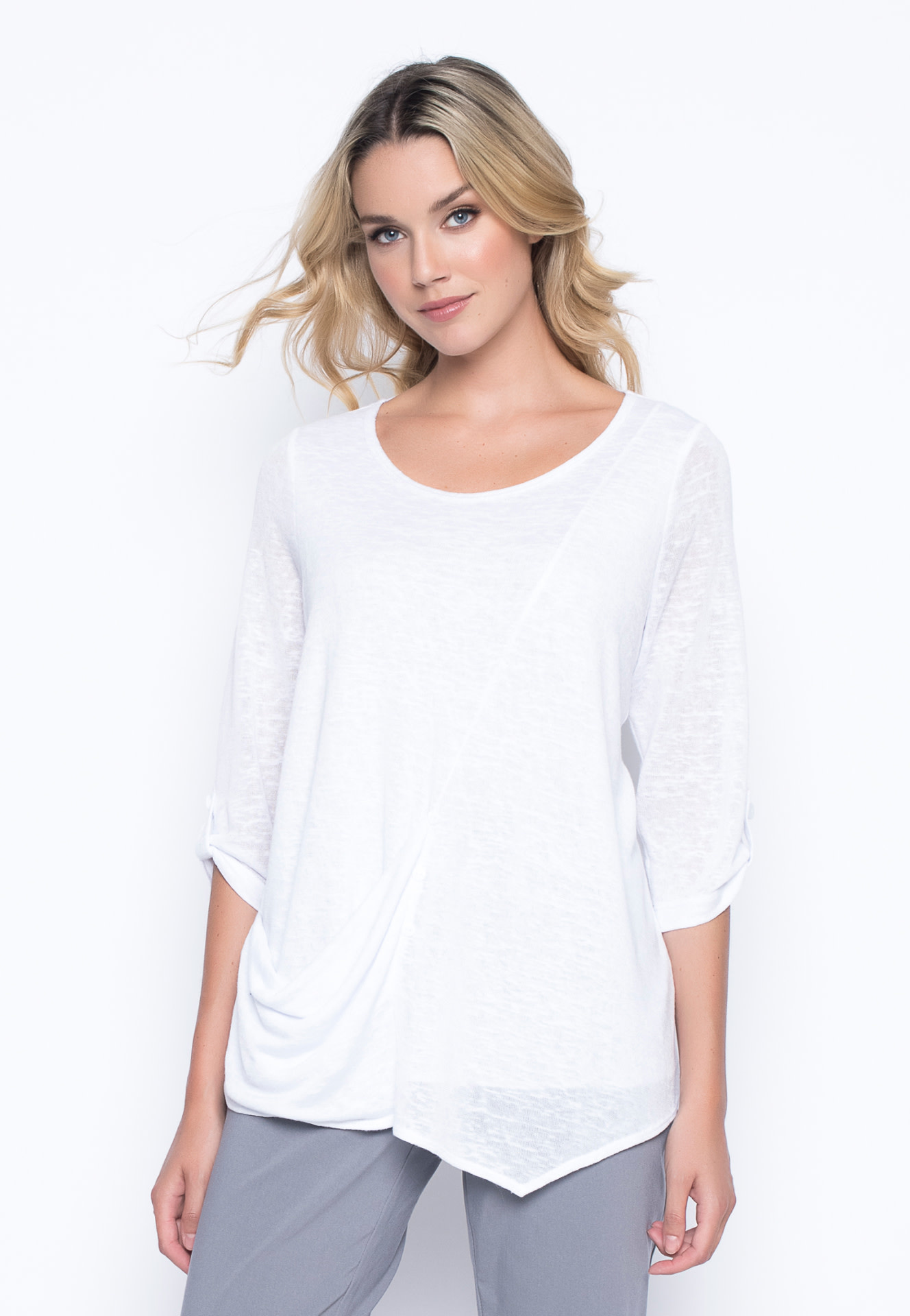 White 3/4 Sleeve Top with Draped Pocket