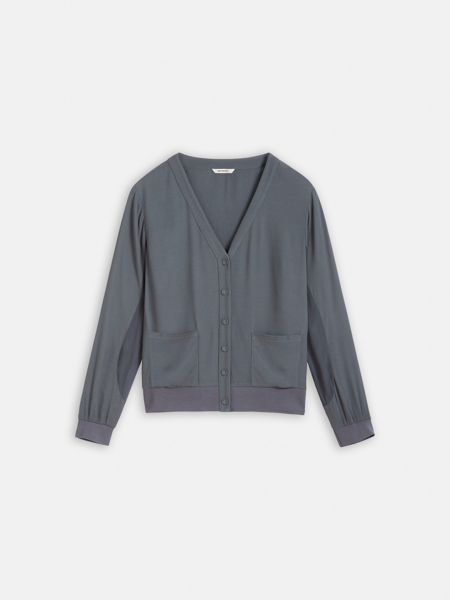 Chiffon Accented Bomber Style Jacket - Deep Water