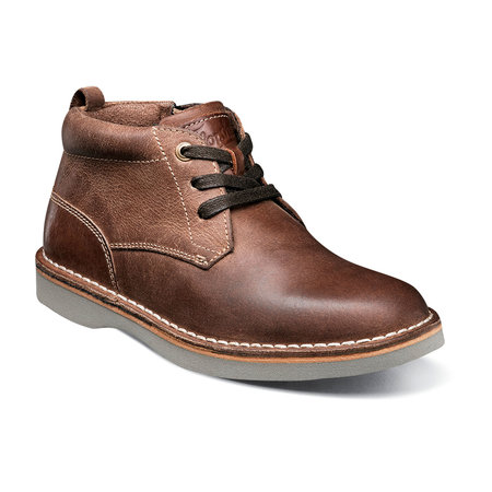 Boys Dressy Leather High-Top - Mid Brown