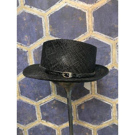 Black Straw Fedora Style Hat