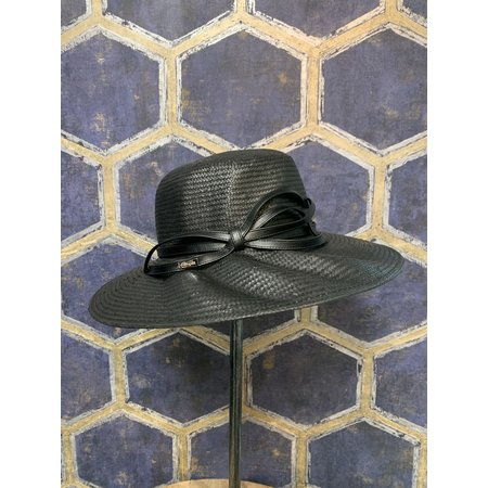 Black Sunhat with Leather Bow and Ridged Brim