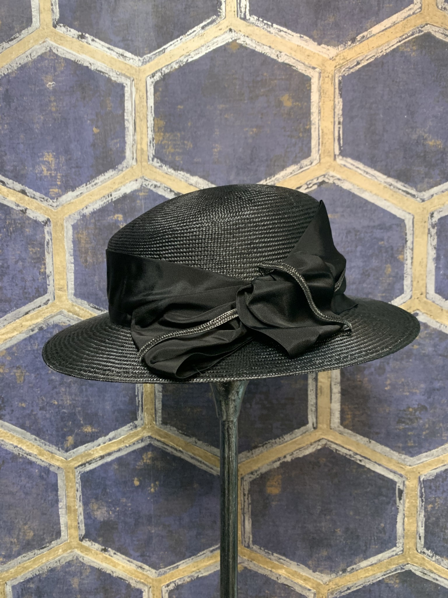 Black Hat with Fabric Bow