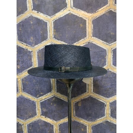 Navy Western Style Straw Hat with Pointed Crown