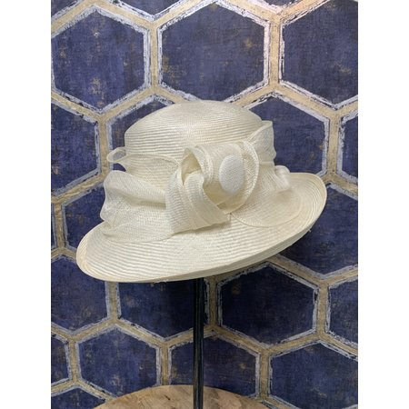 Ivory Hat with Button Trim
