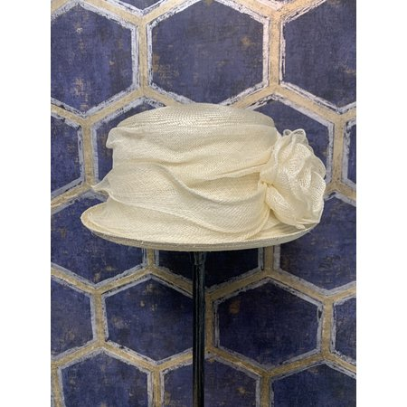 Ivory Ladies Hat with Rosette
