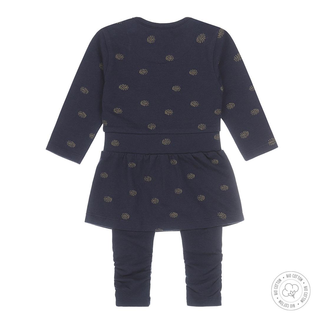 Organic Cotton Navy Dress & Legging Set