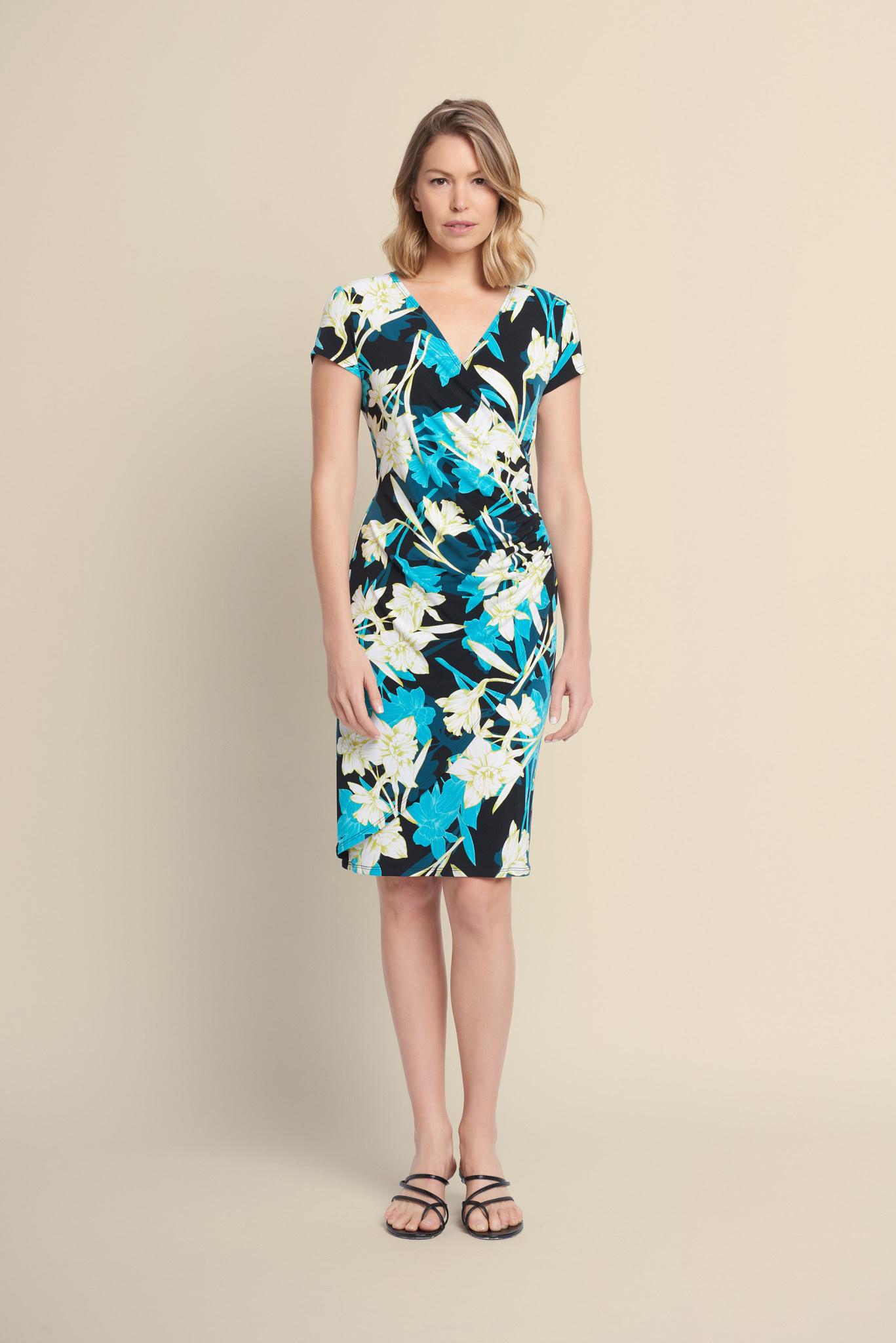Aqua Print Crossover Dress