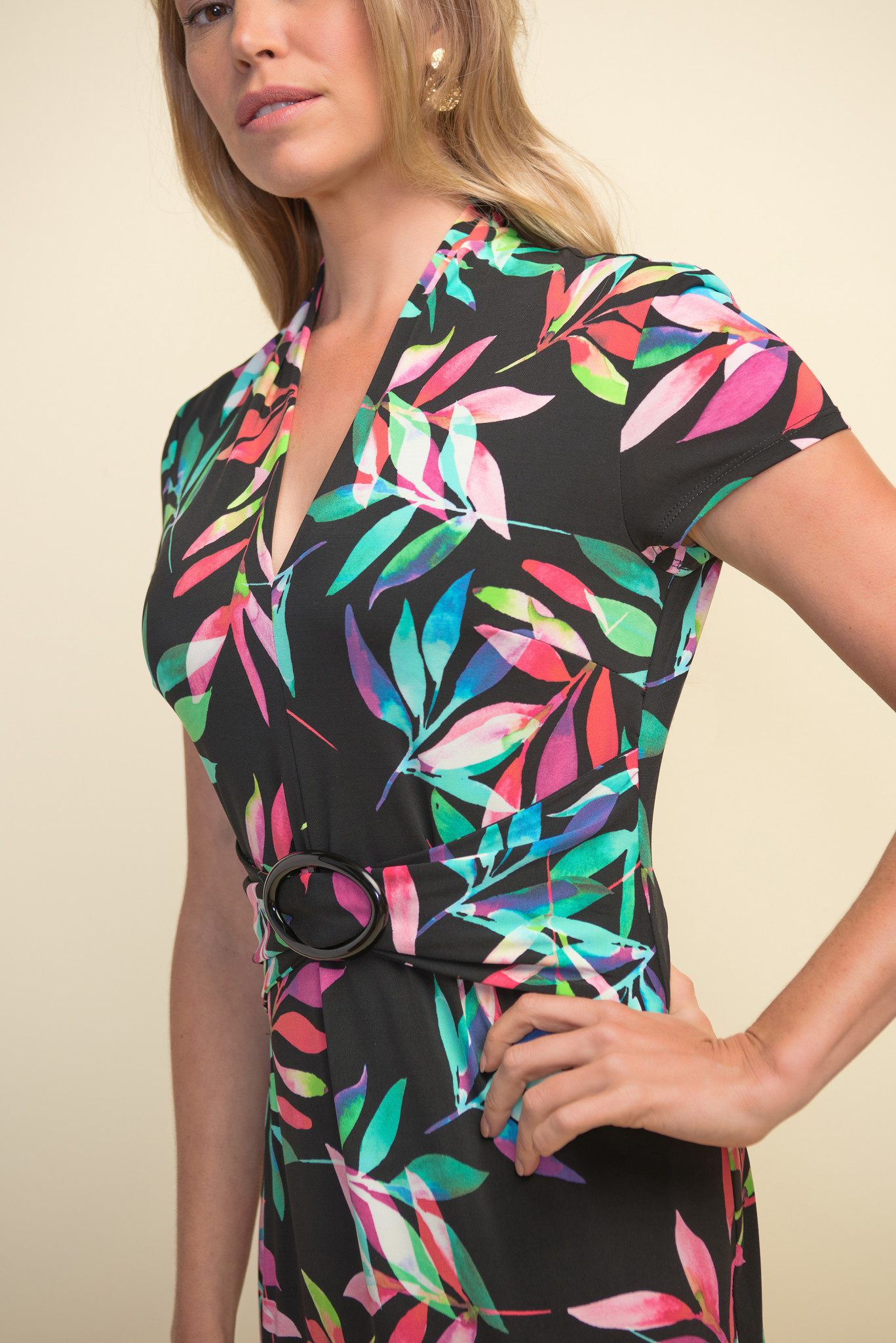 Belted Palm Leaves Dress