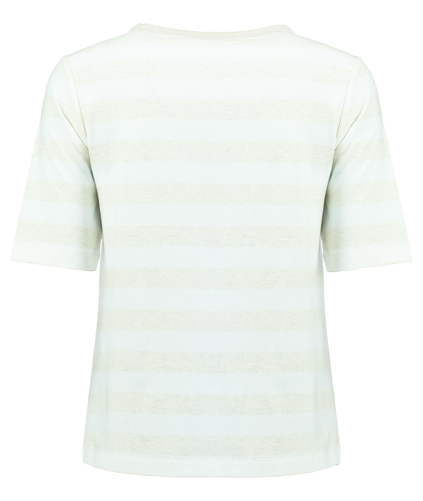 Crew Neck Shirt with Stripe - Sandshell