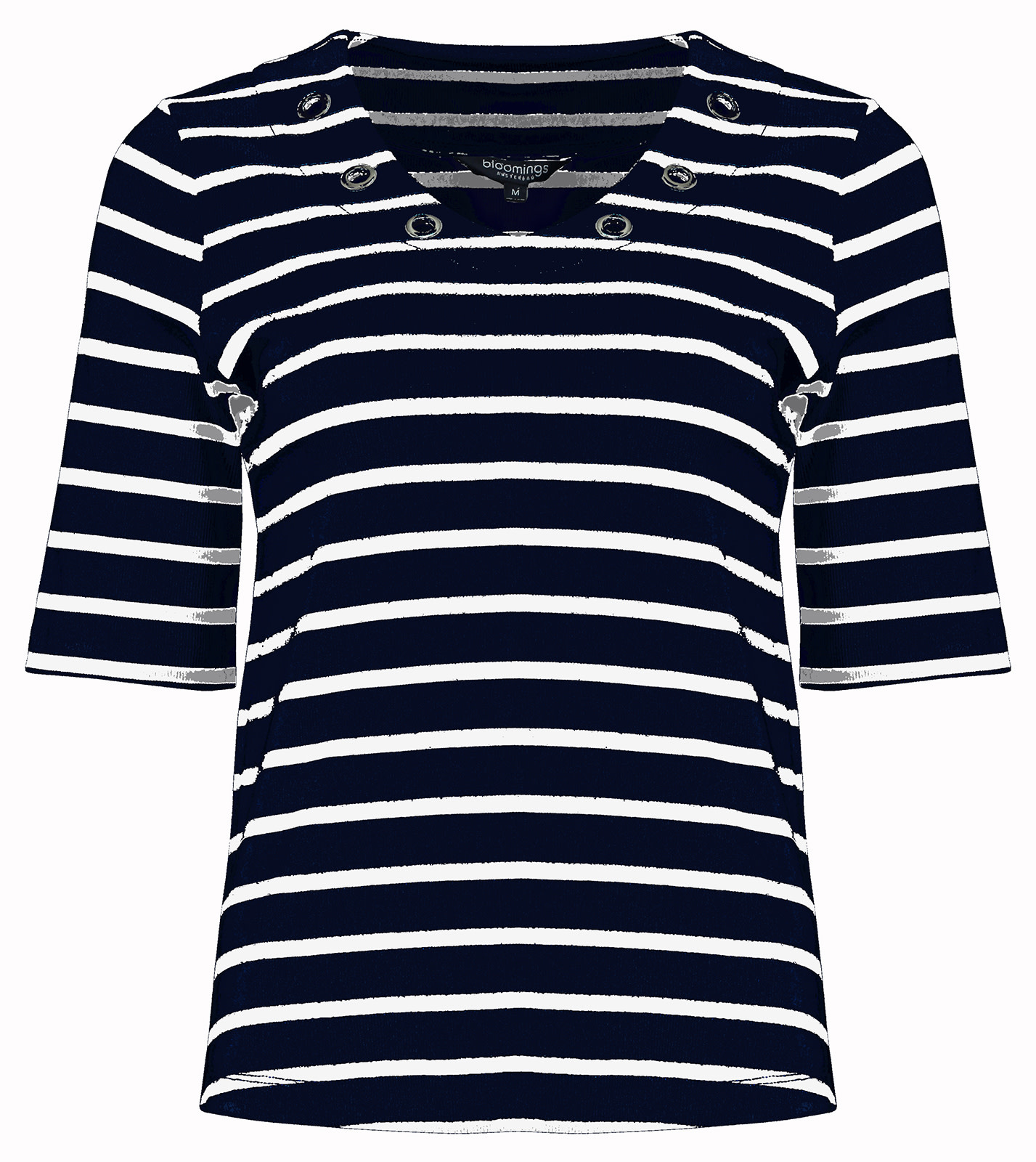 Navy Striped Shirt with Grommets