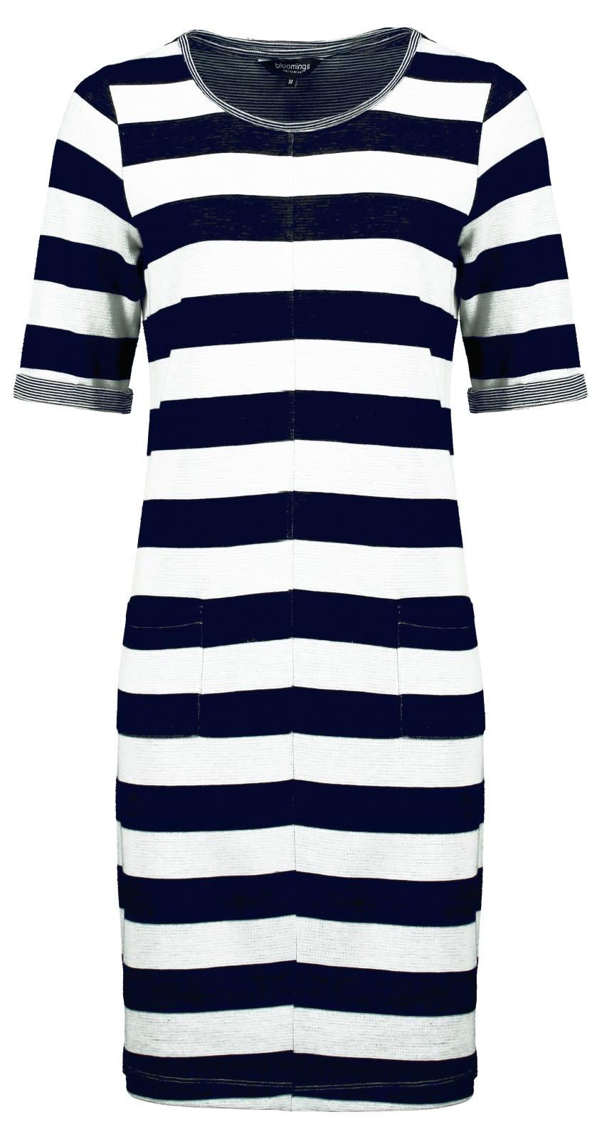 Crew Neck Dress with Navy Melange Stripes