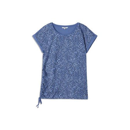 Blue Print Tee with Ruched Side Tie