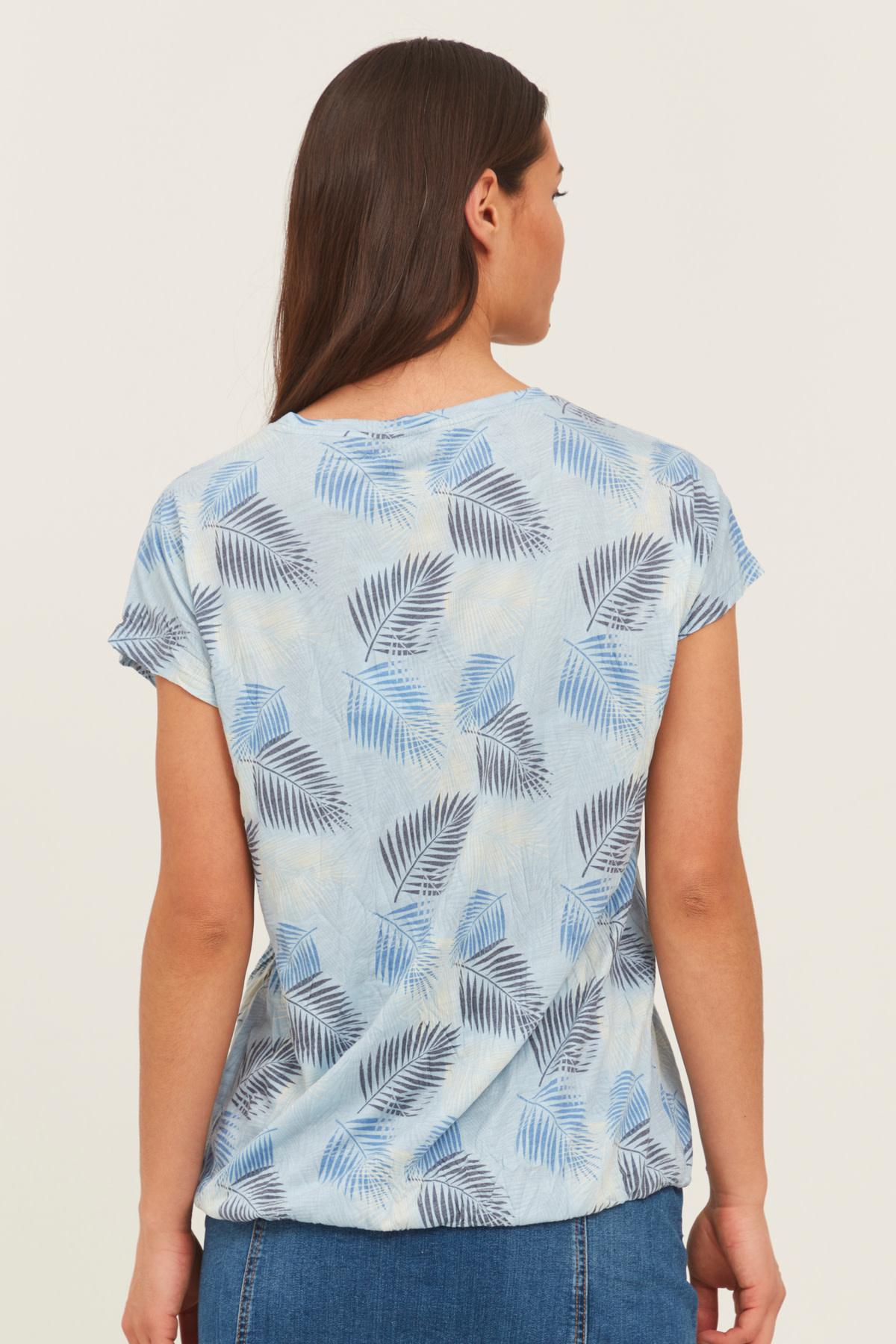Leaf Print Tee - Blue Mix