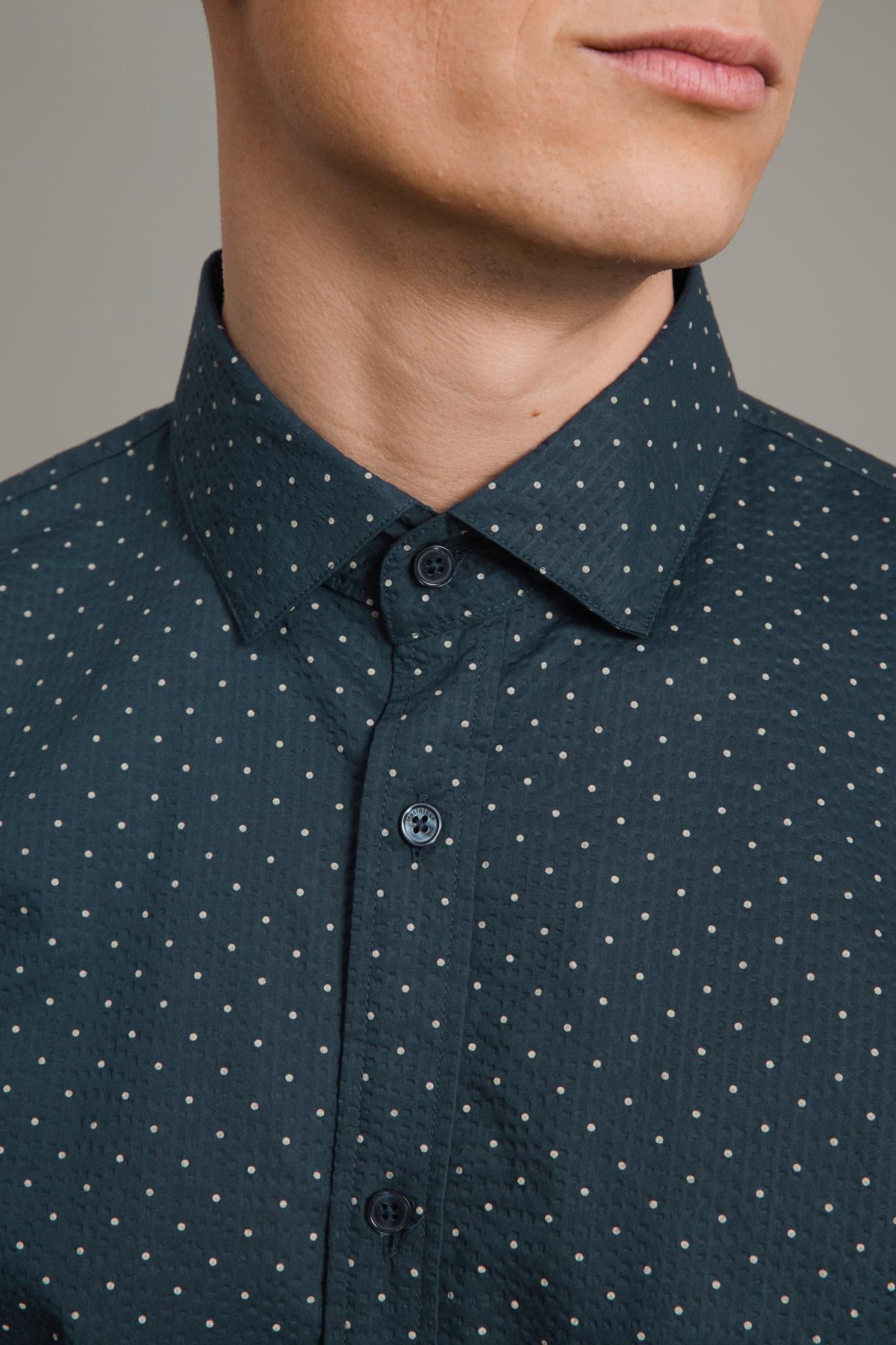 Trostol Short Sleeve Dress Shirt - Dark Navy Dot
