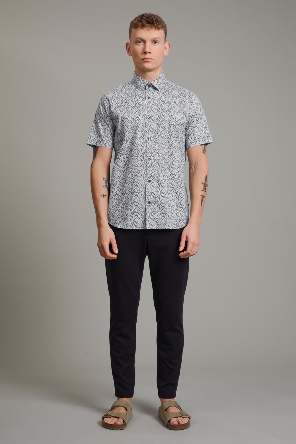 Trostol Short Sleeve Dress Shirt - Navy Leaves