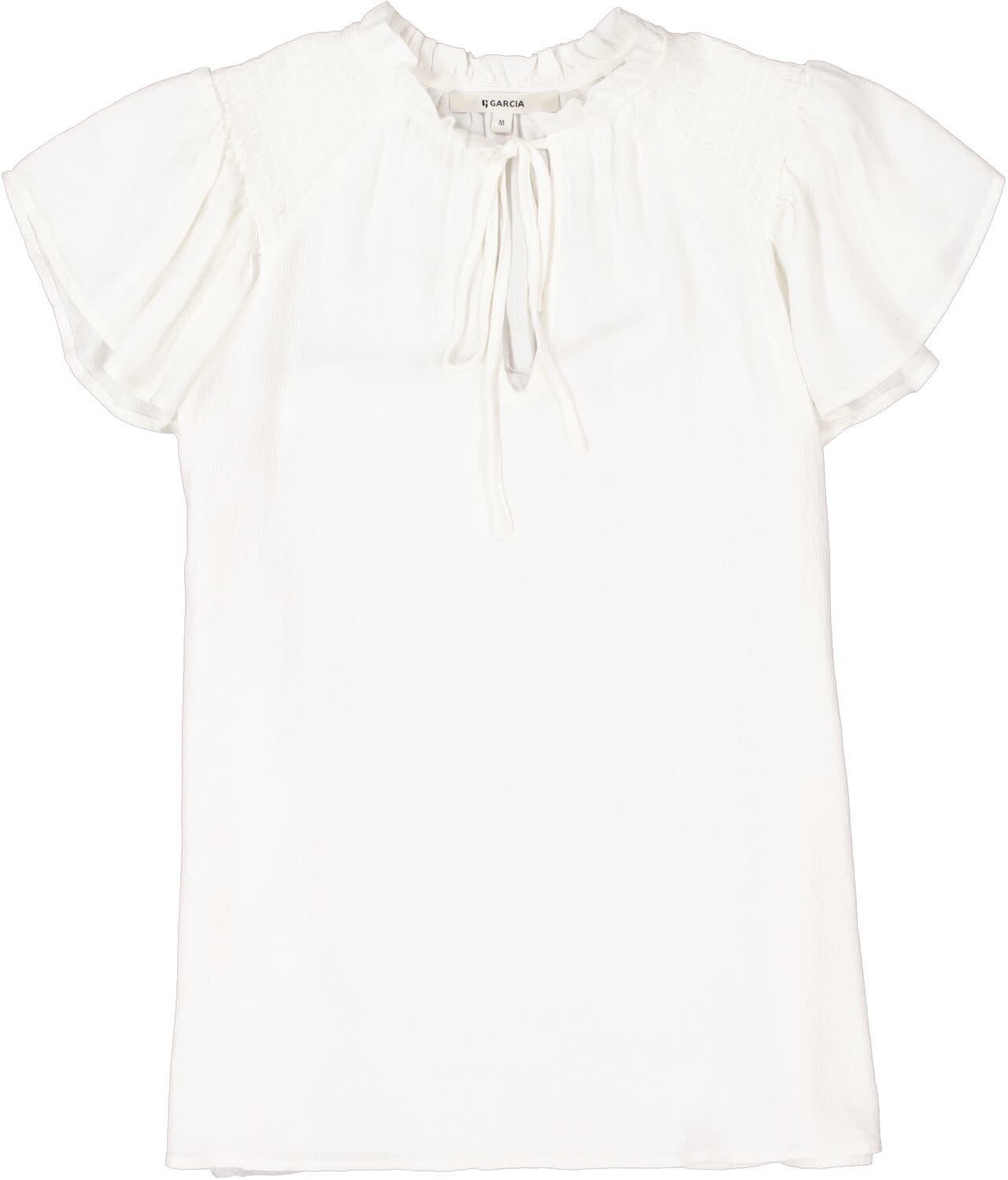 Offwhite Peasant Blouse with Tie