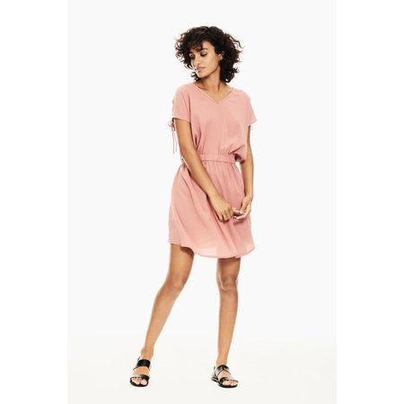 Pink Grapefruit Dress with Drawstring Yoke