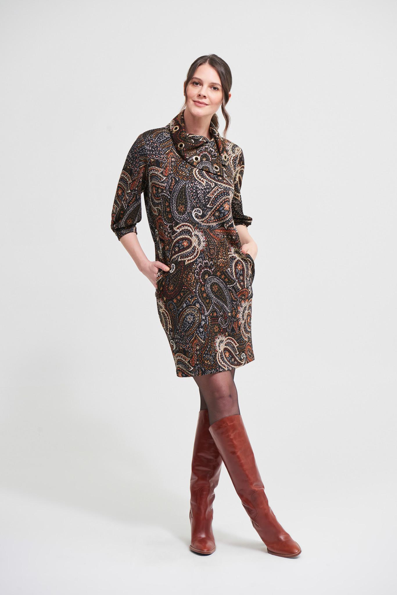 Autumn Paisley Dress with Grommet Detail