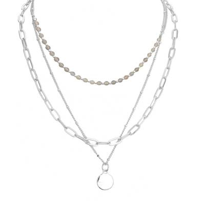 Chain Layered Necklace with Small Pendant