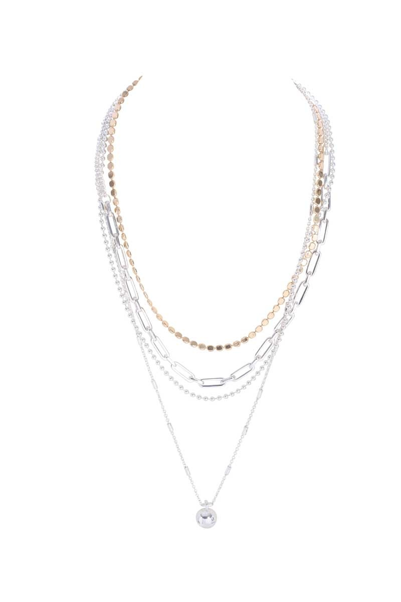 Multi-Layer Necklace with Ball Pendant