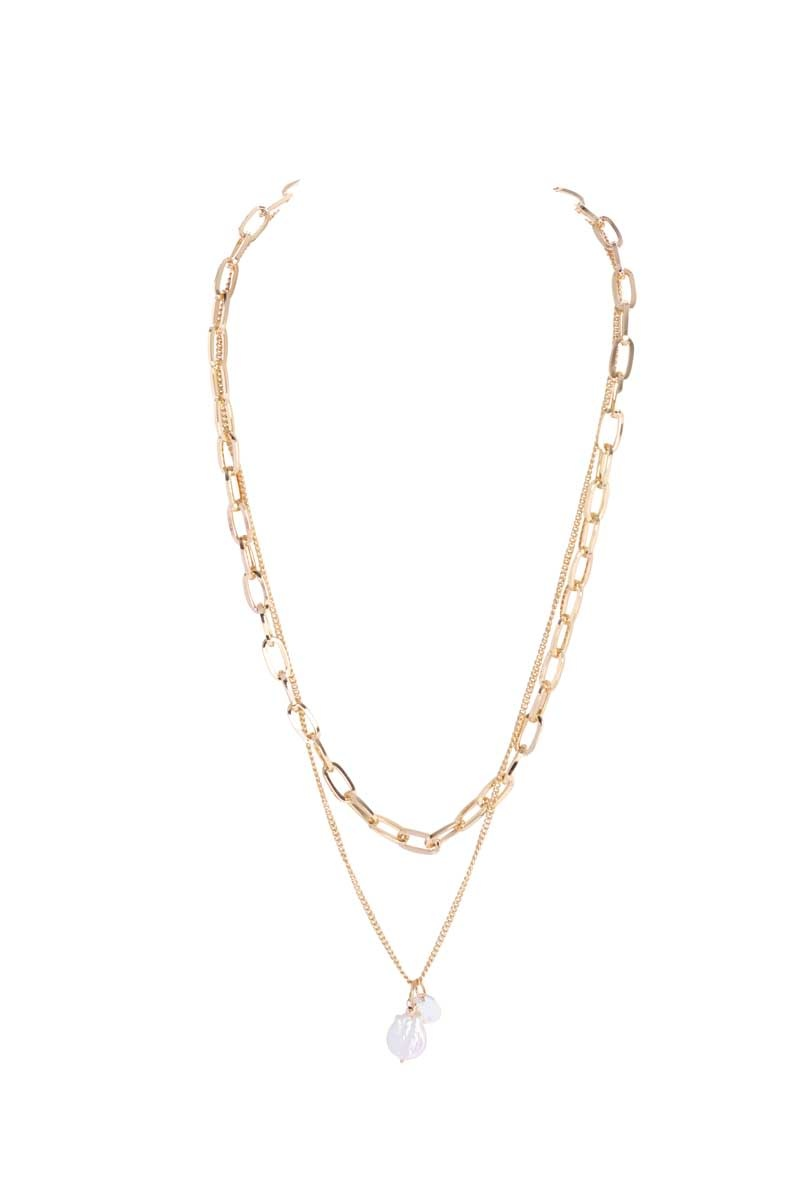 Link Chain Two-Layer Necklace with Pearl