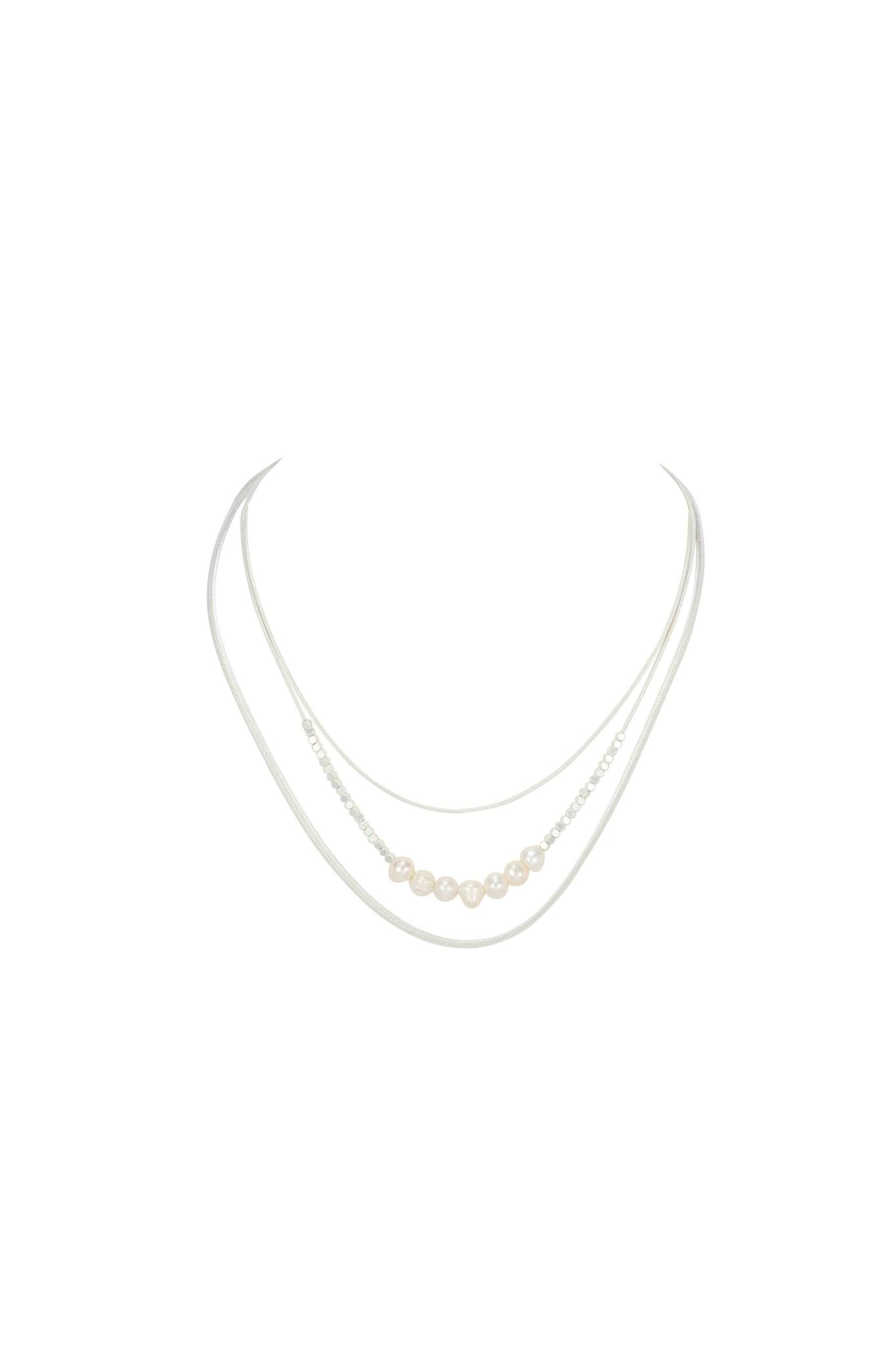 Matte Silver and Pearl Necklace
