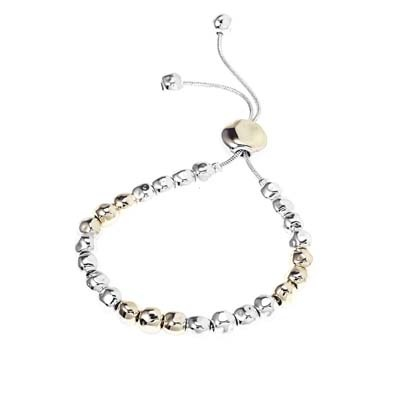 Gold and Silver Hammered Ball Bracelet