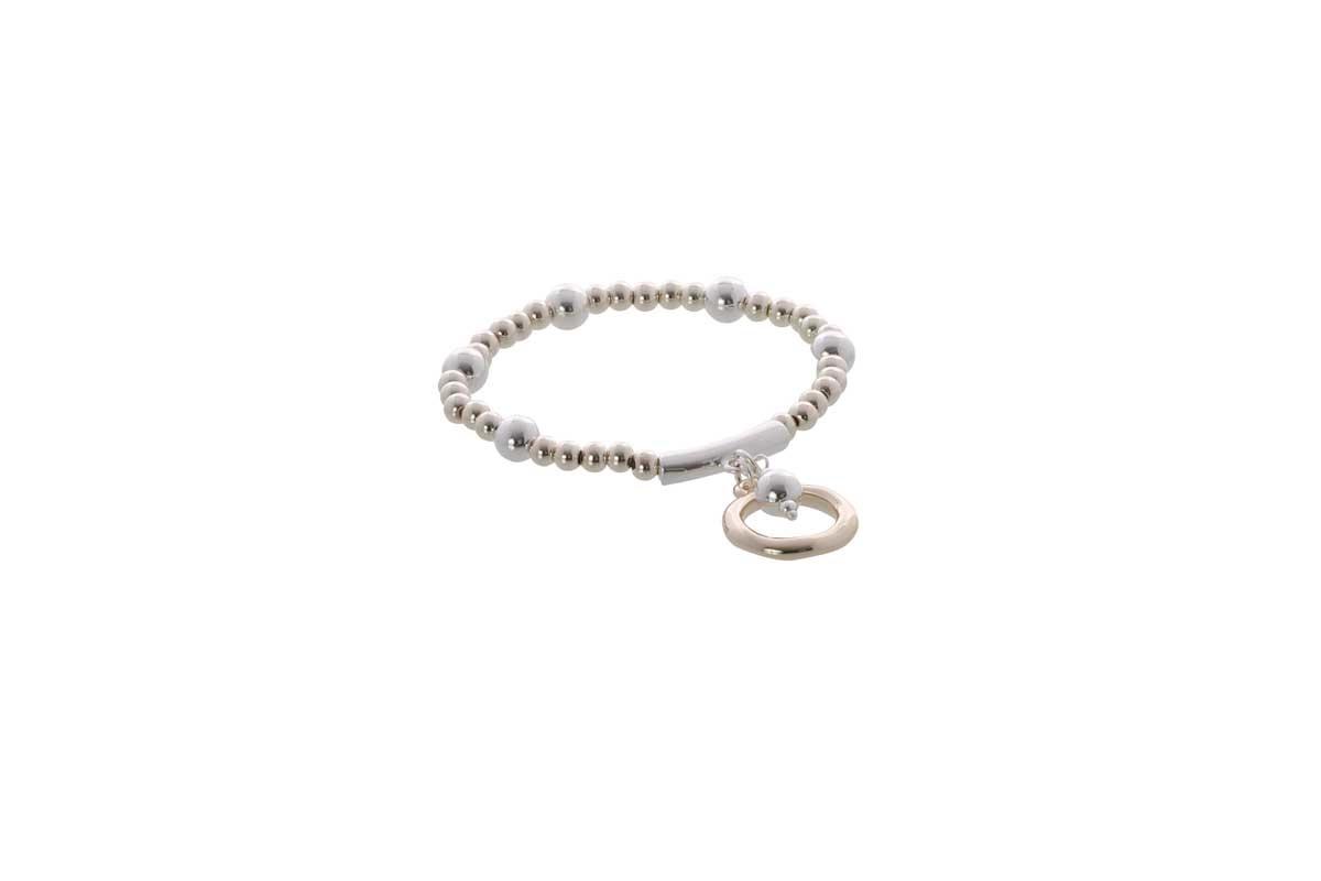 Burnished Silver and Light Gold Elastic Bracelet