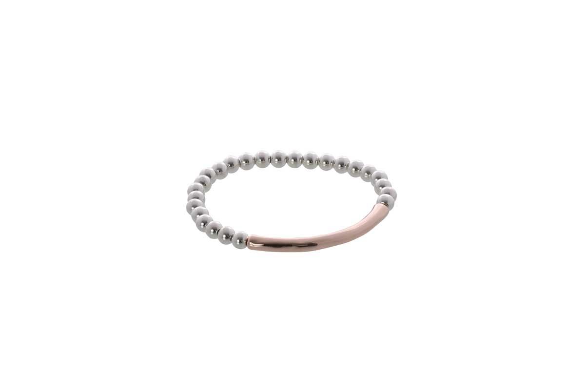 Burnished Silver and Rose Gold Elastic Bracelet