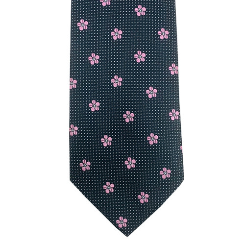 Black and Silver Dotted Tie with Pink Flowers