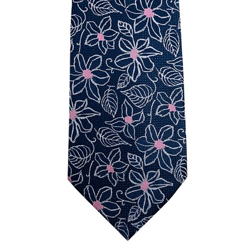 Navy Floral Tie with Pink Centres