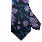 Black Tie with Purple and Blue Floral Motif