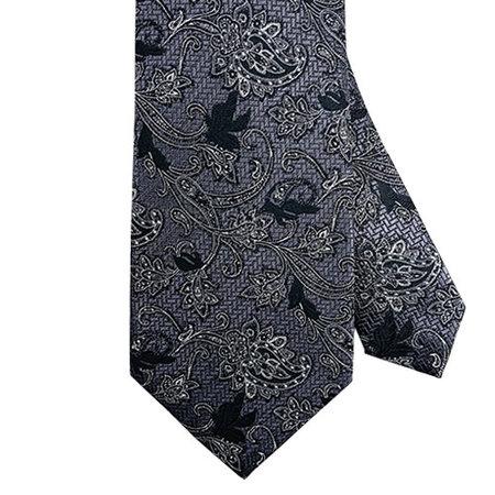Black and Grey Paisley Tie