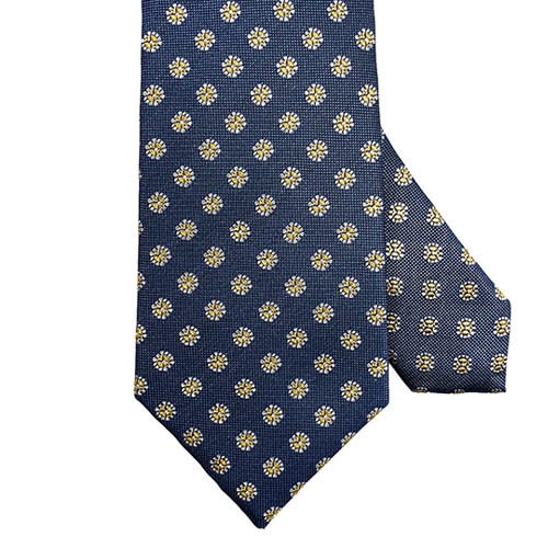 Blue Tie with Gold Medallions