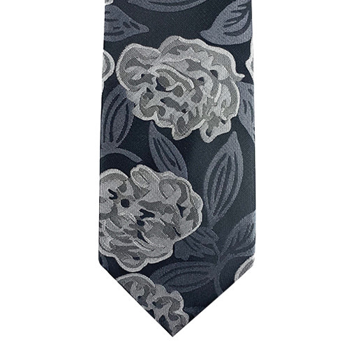 Black and Grey Abstract Floral Tie