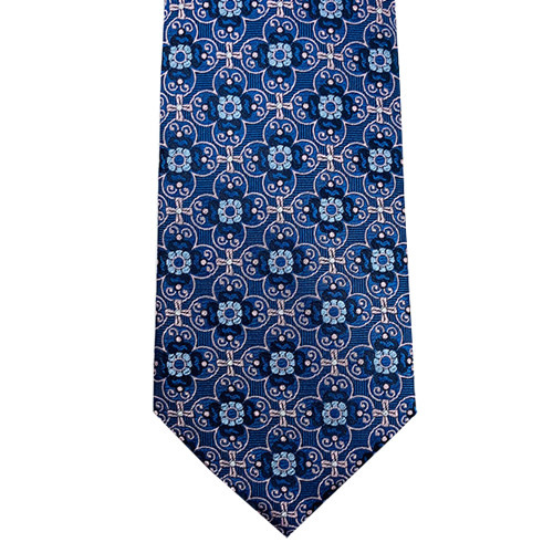 Shades of Blue Tie with Rose Accent Print