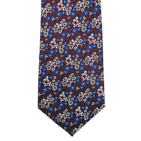 Floral Tie with Burgundy Background