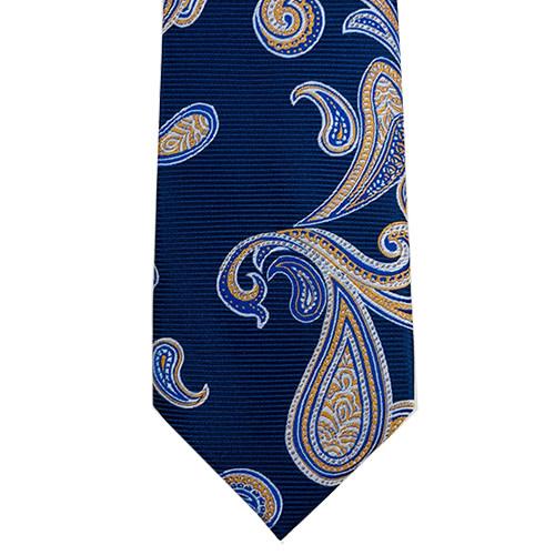 Blue Tie with Orange Paisley Print