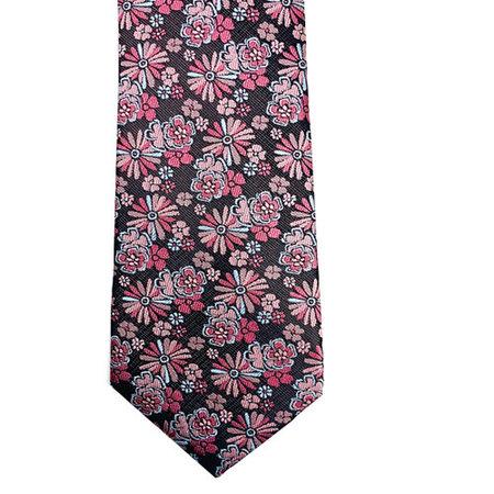 Pink and Brown Floral Motif Tie