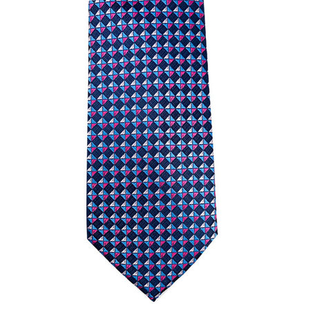 Geometric Pink and Blue Tie